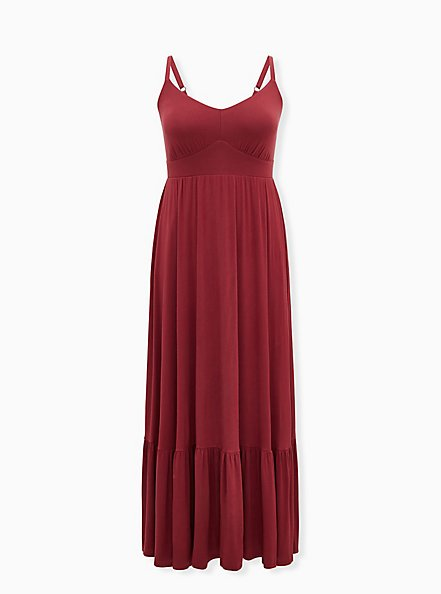 Plus Size Burgundy Jersey Tiered Maxi Dress, BURGUNDY, hi-res