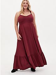 Burgundy Jersey Tiered Maxi Dress, BURGUNDY, hi-res
