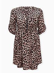 Leopard Challis Zip Front  Shirt Dress, MIDI LEOPARD, hi-res