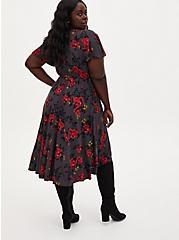 Rose Grey Floral Studio Knit Wrap Midi Dress, FLORAL - GREY, alternate