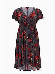 Rose Grey Floral Studio Knit Wrap Midi Dress, FLORAL - GREY, hi-res