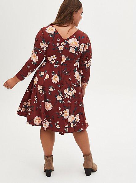 Brown Floral Studio Knit Skater Dress, FLORAL - BROWN, alternate