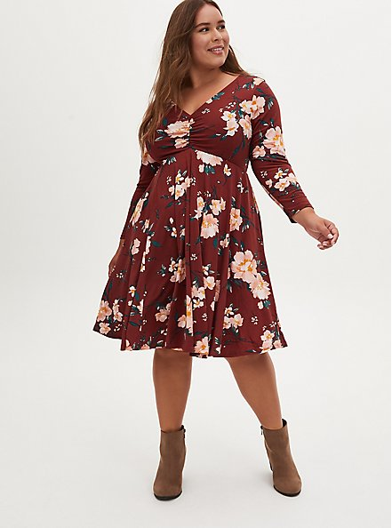 Brown Floral Studio Knit Skater Dress, FLORAL - BROWN, hi-res