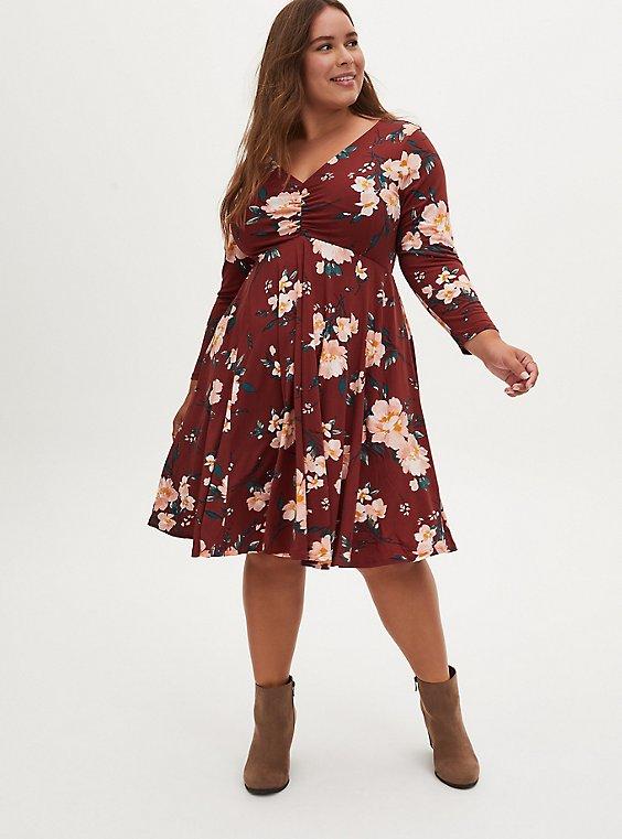 Brown Floral Studio Knit Skater Dress, , hi-res