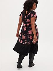 Black Floral Studio Knit Midi Dress, FLORAL - BLACK, alternate