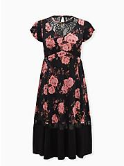 Black Floral Studio Knit Midi Dress, FLORAL - BLACK, hi-res