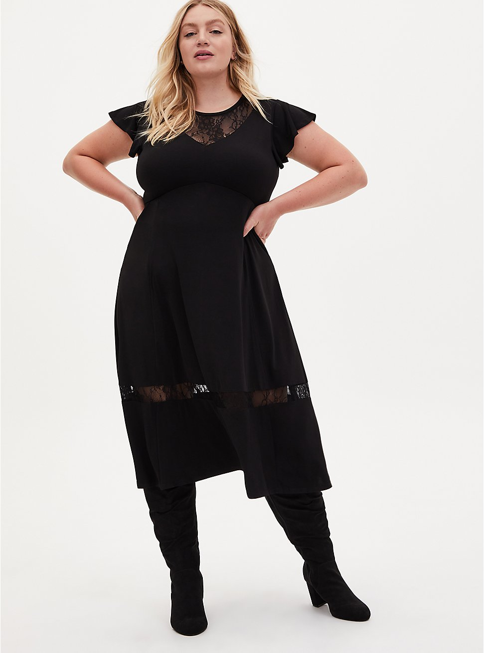 Black Studio Knit Lace Inset Tea Length Dress, DEEP BLACK, hi-res