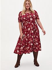 Burgundy Red Floral Studio Knit Self Tie Midi Dress, FLORAL - RED, alternate