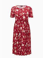 Burgundy Red Floral Studio Knit Self Tie Midi Dress, FLORAL - RED, hi-res