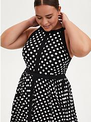 Black & White Polka Dot Studio Knit Skater Dress, DOT -BLACK, alternate
