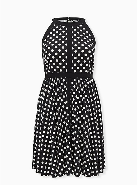 Black & White Polka Dot Studio Knit Halter Skater Dress, DOT -BLACK, hi-res