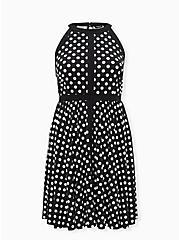 Black & White Polka Dot Studio Knit Skater Dress, DOT -BLACK, hi-res