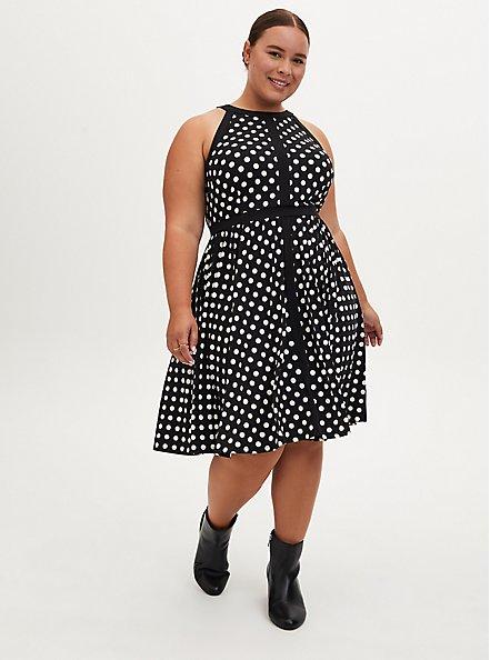 Plus Size Black & White Polka Dot Studio Knit Halter Skater Dress, DOT -BLACK, hi-res