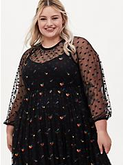 Black Embroidered Floral Mesh Tea Length Dress, DEEP BLACK, alternate
