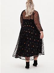 Black Embroidered Floral Mesh Tea Length Skater Dress, DEEP BLACK, alternate