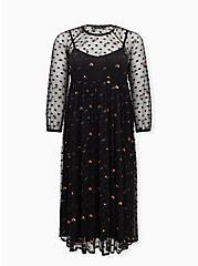 Black Embroidered Floral Mesh Tea Length Dress, DEEP BLACK, hi-res