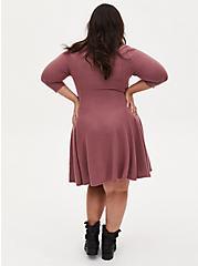 Super Soft Plush Walnut Mini Fluted Dress, ROSE BROWN, alternate