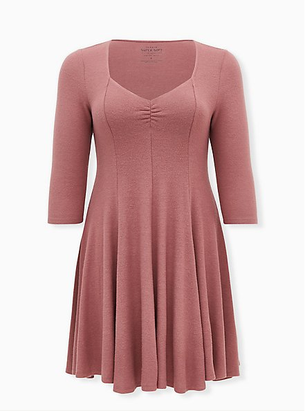 Plus Size Super Soft Plush Walnut Mini Fluted Dress, ROSE BROWN, hi-res