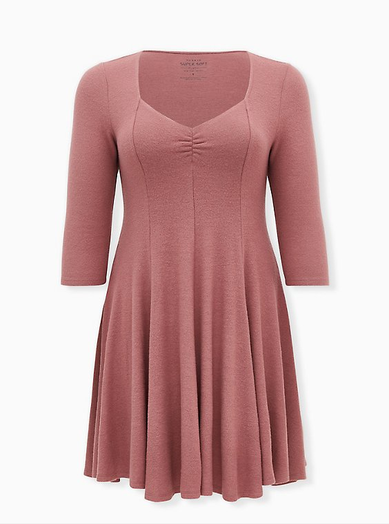 Super Soft Plush Walnut Mini Fluted Dress, ROSE BROWN, ls