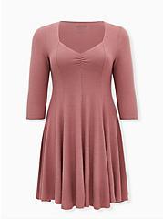 Super Soft Plush Walnut Mini Fluted Dress, ROSE BROWN, hi-res