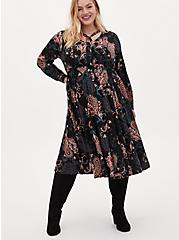 Black Paisley Challis Skater Midi Dress, PAISLEY-BLACK, hi-res
