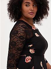 Super Soft Black Floral Skater Midi Dress, FLORAL - BLACK, alternate