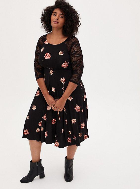 Super Soft Black Floral Skater Midi Dress, FLORAL - BLACK, hi-res