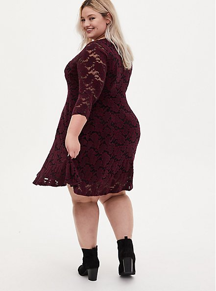 Burgundy Purple Brushed Floral Lace Skater Dress, WINETASTING, alternate