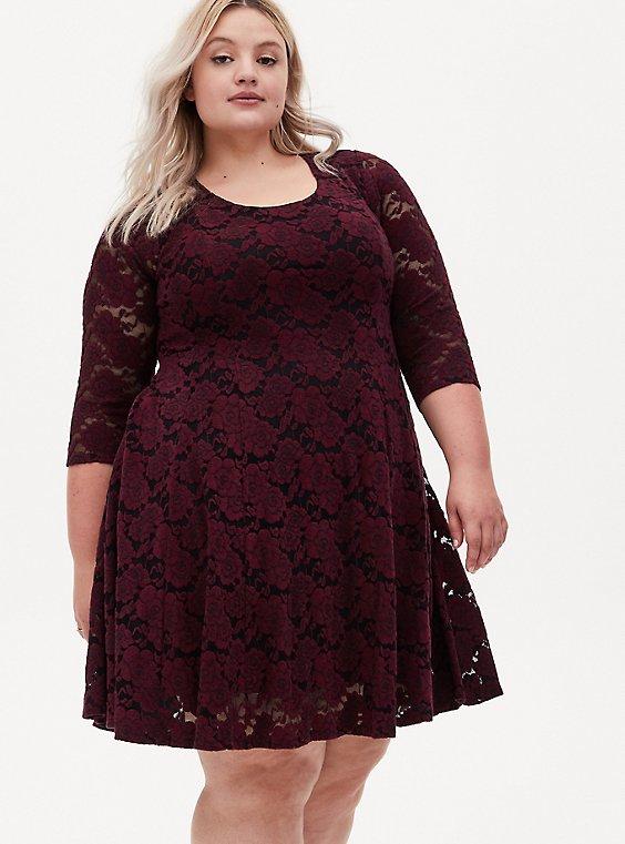 Burgundy Purple Brushed Floral Lace Skater Dress, , hi-res