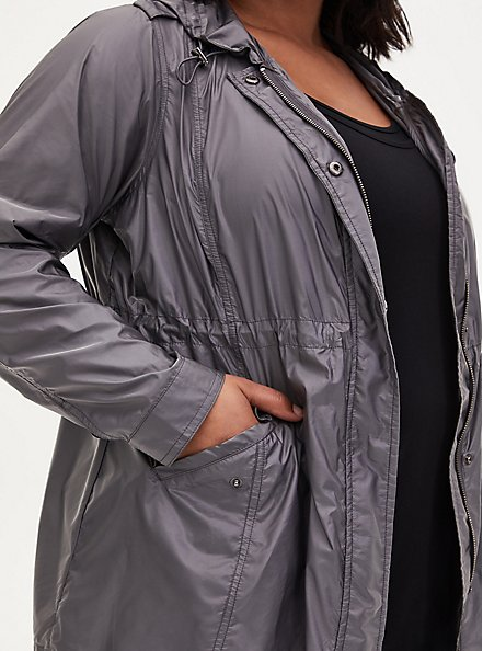 Grey Reflective Nylon Active Windbreaker Jacket, GREY, alternate