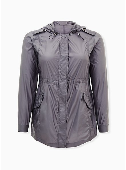 Grey Reflective Nylon Active Windbreaker Jacket, GREY, hi-res