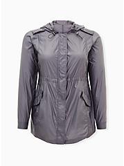 Grey Reflective Nylon Active Windbreaker Jacket, GREY, hi-res