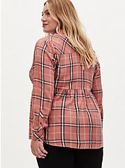 Dusty Coral Plaid Washed Twill Peplum Shirt, PLAID - PINK, alternate