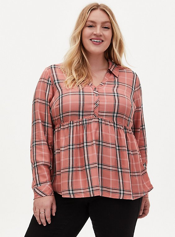 Dusty Coral Plaid Washed Twill Peplum Shirt, PLAID - PINK, hi-res