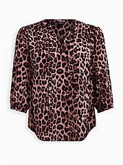 Leopard Georgette Tie Neck Peasant Blouse, MIDI LEOPARD, hi-res
