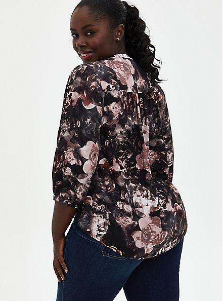 Floral Georgette Tie Neck Peasant Blouse, FLORAL - BLACK, alternate