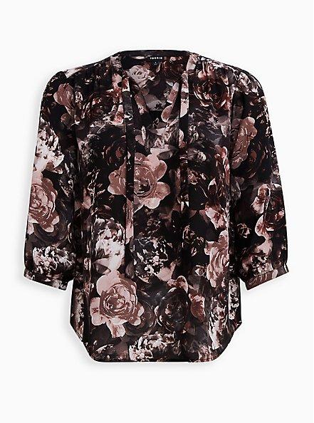 Floral Georgette Tie Neck Peasant Blouse, FLORAL - BLACK, hi-res