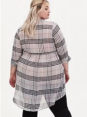 Lexie - Grey Plaid Chiffon Hi-Lo Babydoll Tunic, PLAID - GREY, alternate
