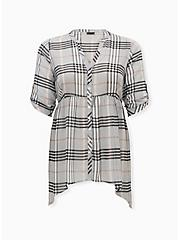 Lexie - Grey Plaid Chiffon Hi-Lo Babydoll Tunic, PLAID - GREY, hi-res