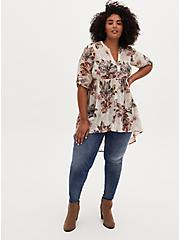 Lexie - Ivory Floral Chiffon Hi-Lo Babydoll Tunic, FLORAL - IVORY, alternate