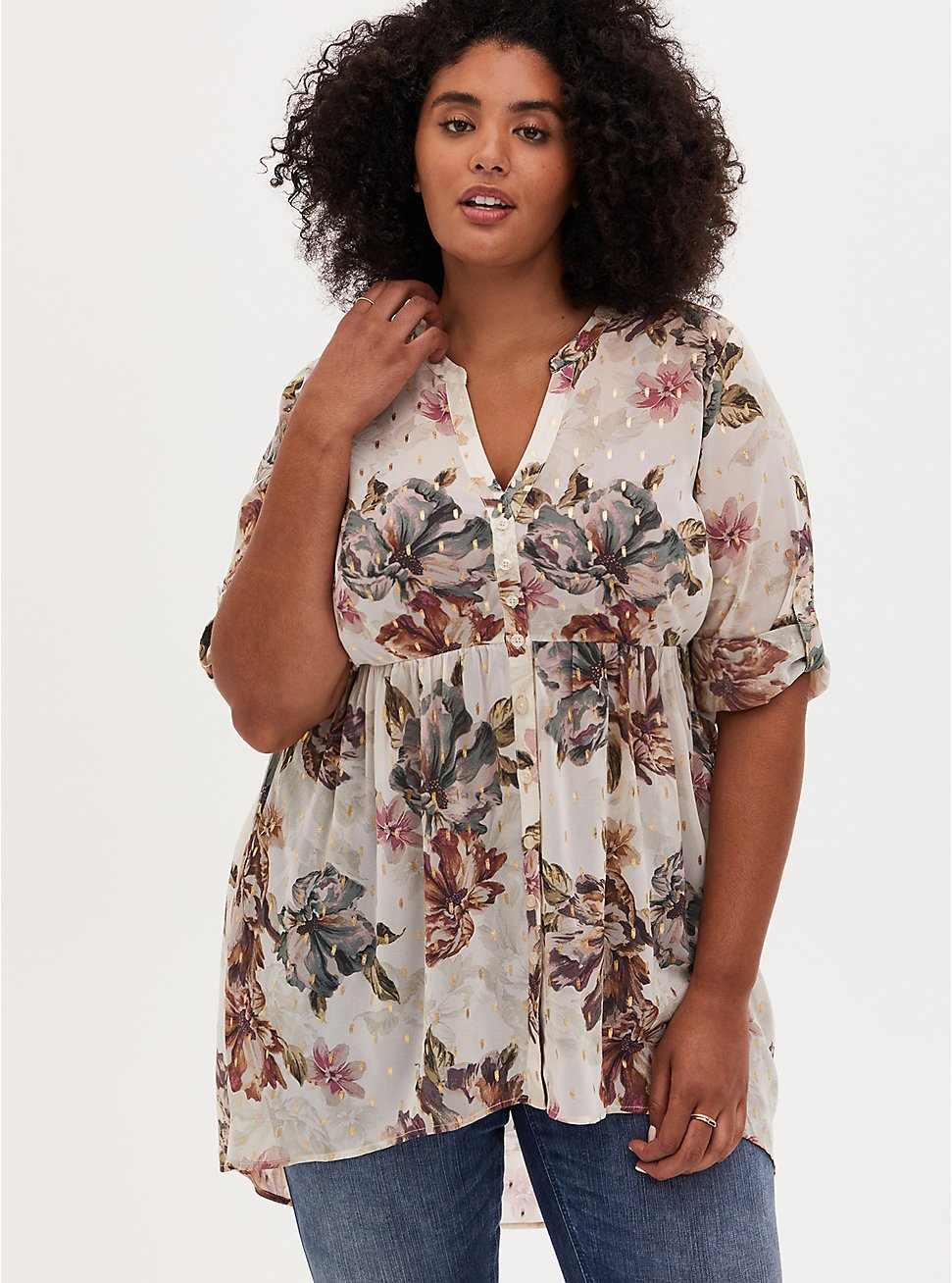 Lexie - Ivory Floral Chiffon Hi-Lo Babydoll Tunic, FLORAL - IVORY, hi-res