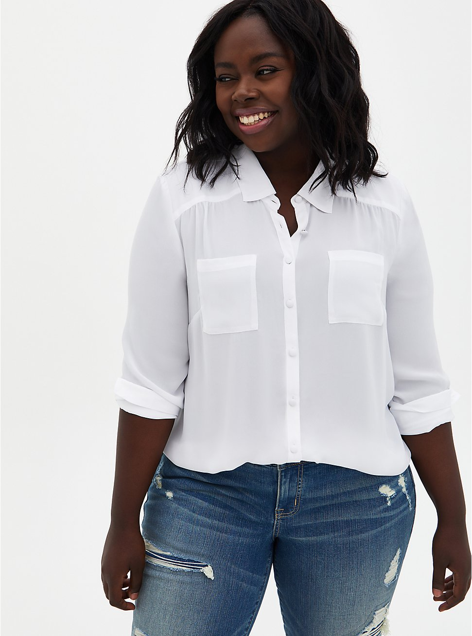 Madison - White Georgette Button Front Blouse, BRIGHT WHITE, hi-res