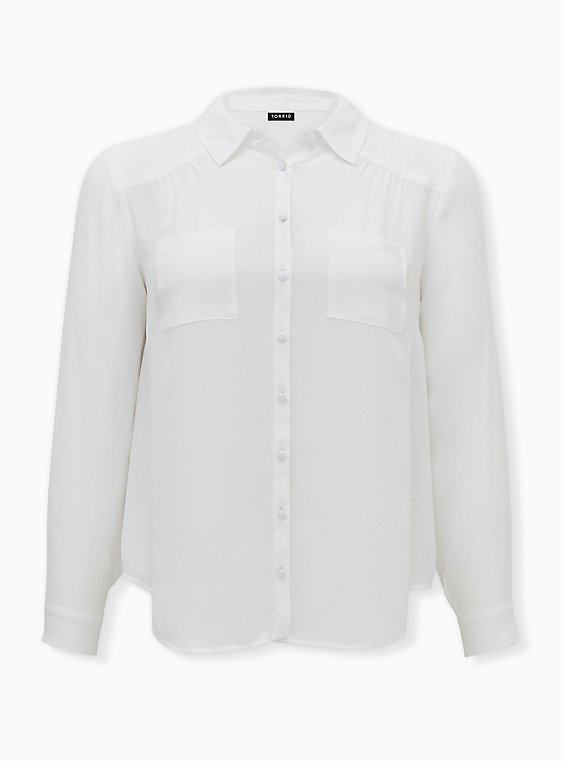 Madison - Ivory Georgette Button Front Blouse, BRIGHT WHITE, ls