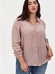 Madison - Taupe Crepe Button Front Blouse, FAWN, hi-res