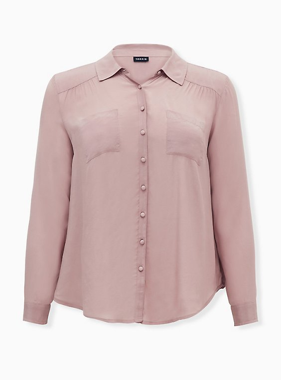 Madison - Taupe Crepe Button Front Blouse, FAWN, ls