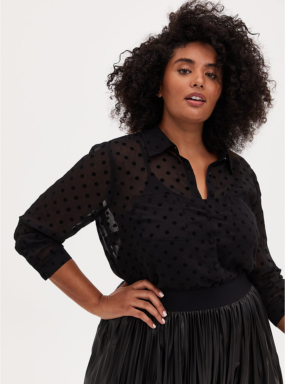 Madison - Black Chiffon Flocked Dots Button Front Blouse , DEEP BLACK, hi-res