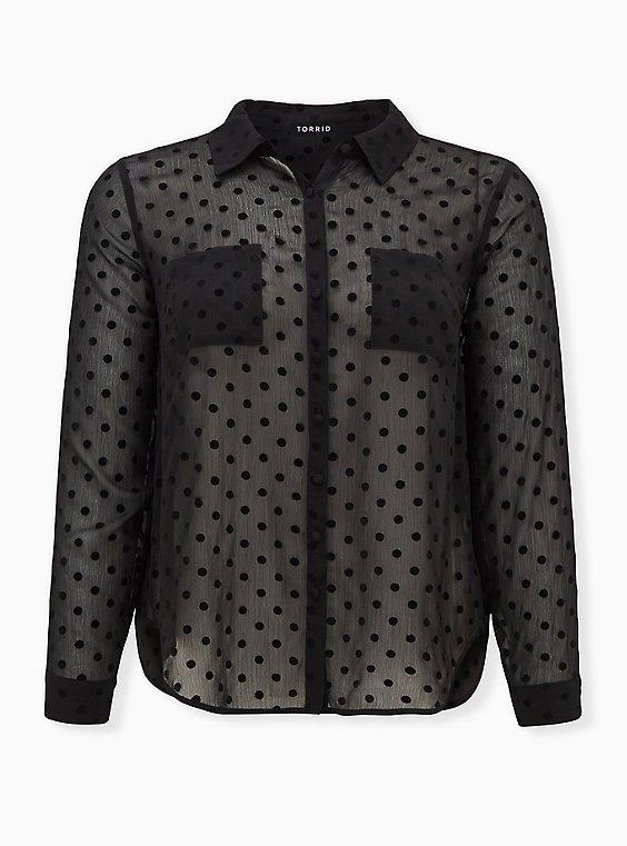 Madison - Black Chiffon Flocked Dots Button Front Blouse , DEEP BLACK, ls