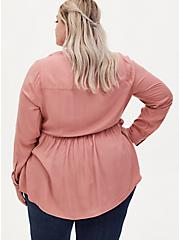 Dusty Coral Washed Twill Peplum Blouse, , alternate