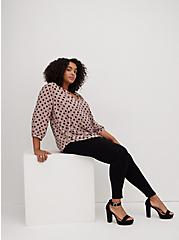 Pink Dot Georgette Tie Neck Peasant Blouse, DOT - PINK, alternate