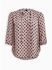 Pink Dot Georgette Tie Neck Peasant Blouse, DOT - PINK, hi-res